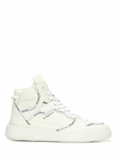 Givenchy Givenchy 101611463 Deri Bağcıklı Logo Baskılı Bilek Boy Erkek Sneaker Beyaz